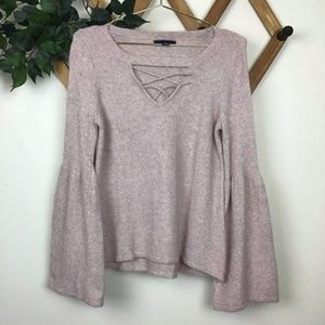 American Eagle Blush Pink Bell Sleeve Sweater